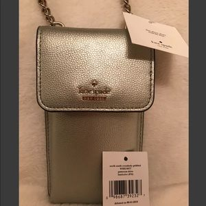 NWT Kate Spade NorthSouth Crossbody Pebbled Silver
